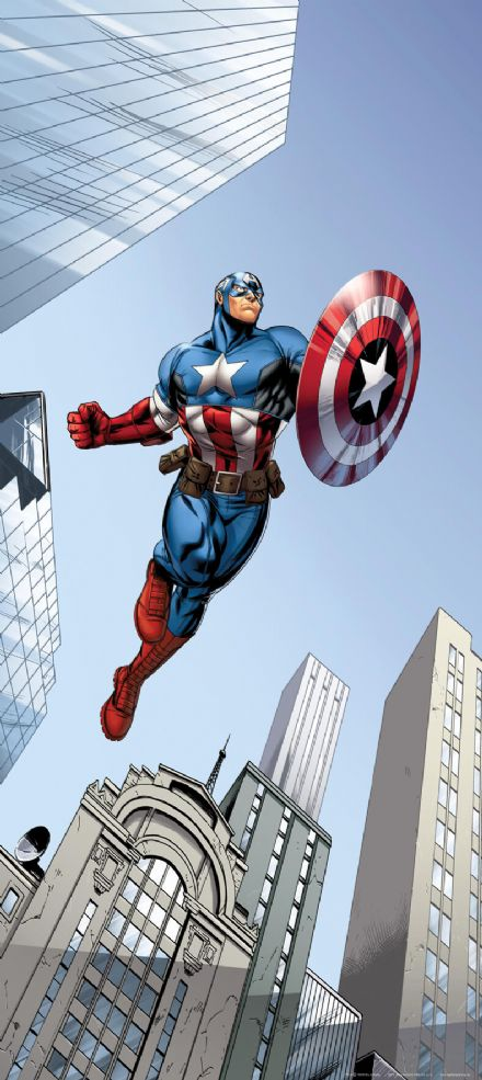Captain America mural wallpaper 90x202cm Marvel